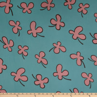 Fabric Merchants Polyester Chiffon Abstract Floral Mint/Pink