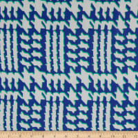 Fabric Merchants Polyester Chiffon Abstract Houndstooth Navy/Ivory