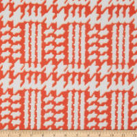 Fabric Merchants Polyester Chiffon Abstract Houndstooth Coral/Ivory