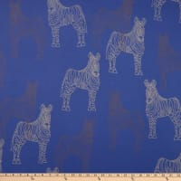 Fabric Merchants Polyester Chiffon Zebra Blue