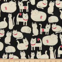 Kokka Line Art Cat Oxford Black