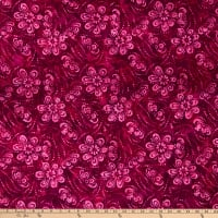 Wilmington Batik Floating Flowers Hot Pink