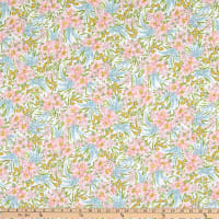 Liberty Fabrics Swirling Petals Green/Blue