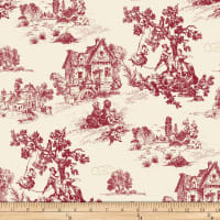 Comersan Fabrics Orleans Toile Jacquard Red