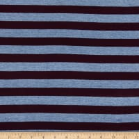Fabric Merchants Splendid Apparel Rayon Jersey Knit Stripe Denim/Eggplant
