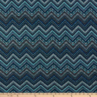 Fabric Merchants Retro Hacci Sweater Knit Geo Chevron Blue