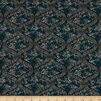 Fabric Merchants Retro Hacci Sweater Knit Foiled Medallion Black/Teal