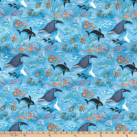 Northcott Arctic Wonders Arctic Sea Life Blue Multi