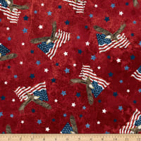 Northcott Stars and Stripes Soaring Eagles Red Multi