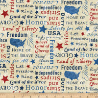 Northcott Stars and Stripes Inspiration Words Beige Multi