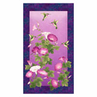 "Northcott Shimmer Morning Glory Hummingbird 23"" Panel Purple Multi"