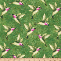 Northcott Shimmer Morning Glory Humingbirds Green Multi