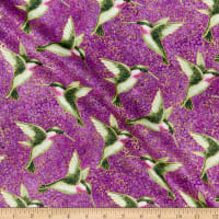 Northcott Shimmer Morning Glory Humingbirds Purple Multi