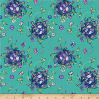 Northcott Stag and Thistle Sew Bountiful Dark Turquoise Multi