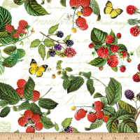 Northcott Briarwood Feature Berries & Butterflies White Multi