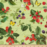 Northcott Briarwood Feature Berries & Butterflies Green Multi