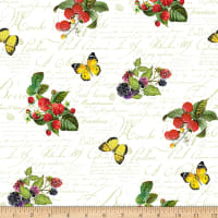 Northcott Briarwood Small Berries & Butterflies White Multi