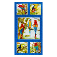 "Henry Glass Birds In Paradise Parrot Banner 24"" Panel Royal"