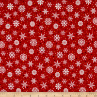 Henry Glass Flannel Snow Bird Snowflake Red
