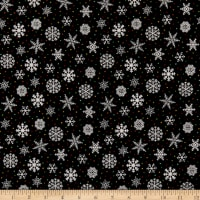 Henry Glass Flannel Snow Bird Snowflake Black