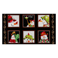 "Henry Glass Flannel Snow Bird 24"" Snowman Block Panel Black"
