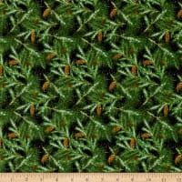 Henry Glass Flannel Snow Bird Branches Green/Black