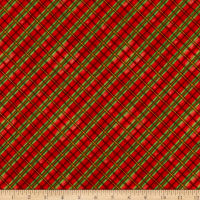 Henry Glass Flannel Snow Bird Bias Plaid Red