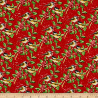 Henry Glass Flannel Snow Bird Chickadees On Berry Branches Red