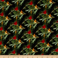 Henry Glass Flannel Snow Bird Cardinals On Branches Black