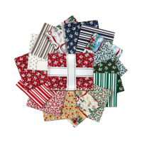 Kaufman Fat Quarter Bundles Yuletide Bells 15 Pcs Holiday