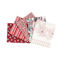 Kaufman Fat Quarter Bundles Yuletide Bells 5 Pcs Red