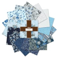 Kaufman Ten Squares Holiday Flourish Metallic 42pcs Blue