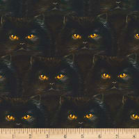 Kaufman Whiskers & Tails Cat Faces Black