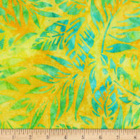 Kaufman Artisan Batiks Totally Tropical Leaves Sunshine