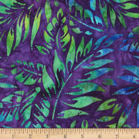 Kaufman Artisan Batiks Totally Tropical Leaves Ocean