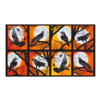 "Kaufman Raven Moon Bird 24"" Panel Pumpkin"