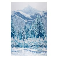 "Kaufman First Snow Metallic Mountain 24"" Panel Winter"