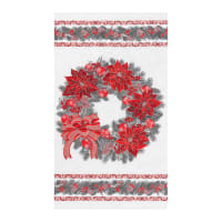 "Kaufman Holiday Flourish 13 Wreath 24"" Panel Scarlet"