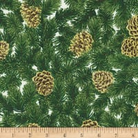 Kaufman Holiday Flourish 13 Pine Cones Ivory