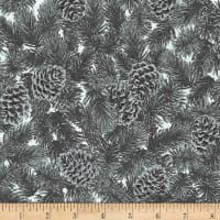 Kaufman Holiday Flourish 13 Pine Cones Silver