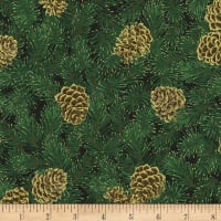Kaufman Holiday Flourish 13 Pine Cones Black