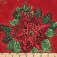 Kaufman Holiday Flourish 13 Poinsettias Red