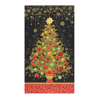 "Kaufman Holiday Flourish 13 Tree 24"" Panel Black"