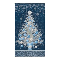 "Kaufman Holiday Flourish 13 Tree 24"" Panel Navy"