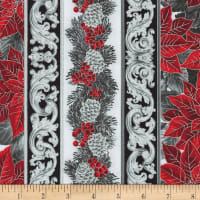 Kaufman Holiday Flourish 13 Stripe Scarlet