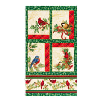 "Kaufman Metallic Winter's Grandeur 8 Bird 24"" Panel Holiday"