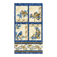 "Kaufman Metallic Winter's Grandeur 8 Bird 24"" Panel Blue"