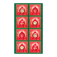 "Kaufman Metallic Winter's Grandeur 8 Ornament 24"" Panel Holiday"