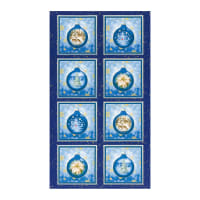 "Kaufman Metallic Winter's Grandeur 8 Ornament 24"" Panel Blue"