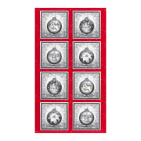 "Kaufman Metallic Winter's Grandeur 8 Ornament 24"" Panel Scarlet"